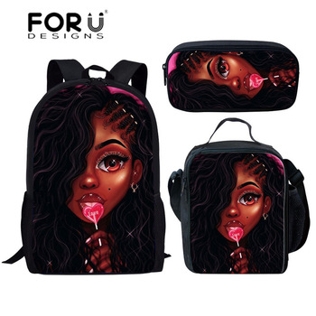 FORUDESIGNS Girls School Bags African Black Girls Hairstyle School Backpack Set Scool Bag For Girl Kids Girl Backpack Junior Bag 39