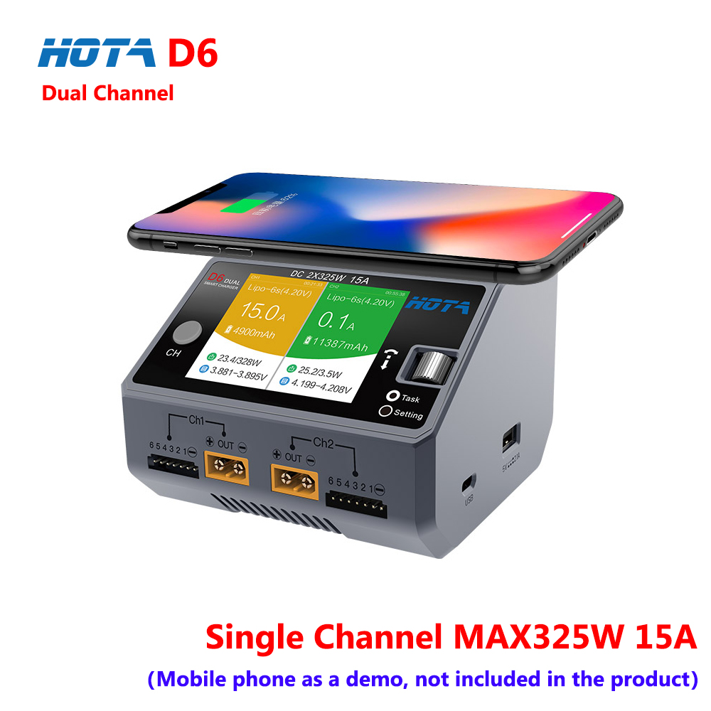 HOTA D6 DC650W 15A 2-6S Dual Channel Smart Charger For Lipo Lion Battery with iPhone Samsung Wireless Charging image