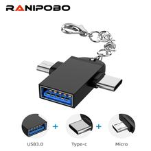 OTG Converter 2 in 1 USB OTG Cable Type C Micro USB Converter Type-C Adapter for Samsung Huawei 3.0 OTG Type C Cable Adapter цена 2017