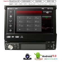 Andriod 9.0 7 Inch 1 Din Auto Navigatie Quad Core Auto Dvd-speler Gps Wifi Bt Radio 1 Gb Ram sd 16 Gb Rom 4G Swc Rds Cd 1024*600(China)