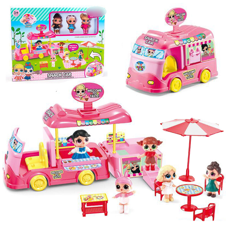 L.O.L. SURPRISE! NEW lols doll Snack car bus toy with box Playing House and 3 lols dolls toy fingure girl toys gift for kids