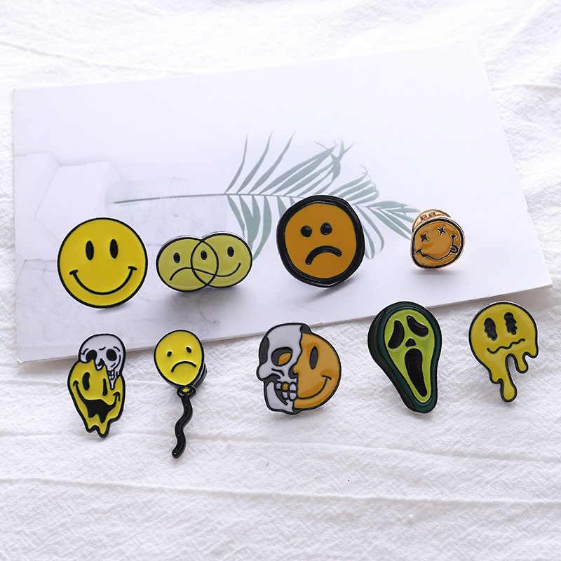 Del fumetto Distintivi e Simboli Punk Del Cranio Sorridente Viso Avocado Spille per Le Donne Palloncino Piangere Viso Dello Smalto Spille Gioielli Accessori Zaino