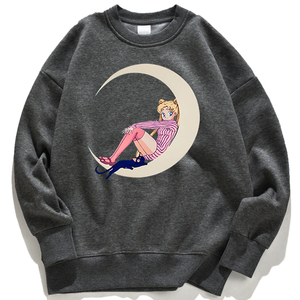 Kawaii Sailor Moon Anime Print New Womens Hoodie Harajuku Sweatshirt Crewneck Cartoon Clothing Fleece Loose Pullover Women Hoody