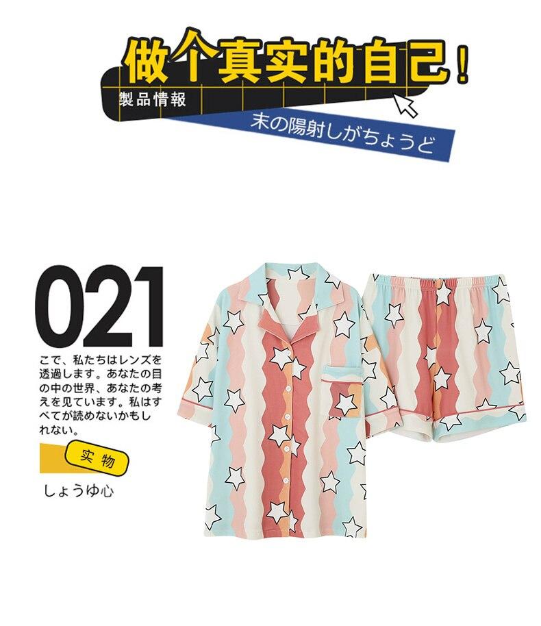 Verão algodão feminino pijamas conjunto 2 pçs
