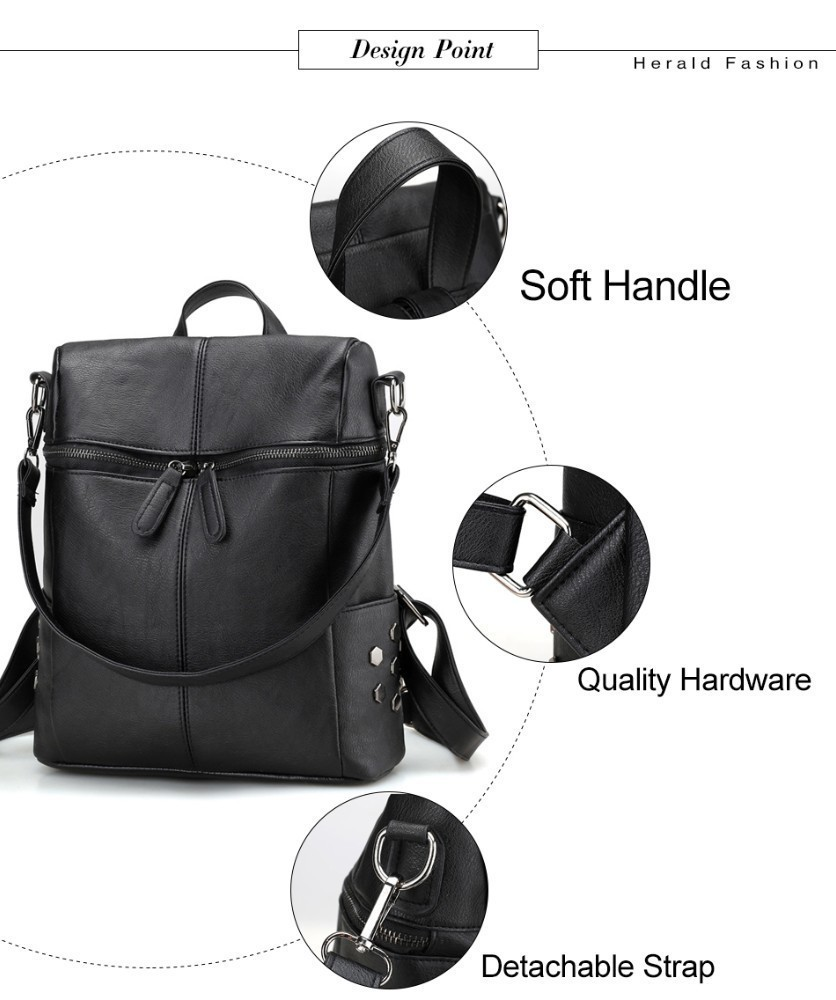 Hc46c4fe476134d45a03a62f4077d3304W Herald Fashion Women's PU Leather Backpack School Bags For Teenage Girls Large Capacity Backpack Laptop Bag Drop Shipping