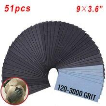51 шт влажных/Сухой наждачная бумага 120-240 800-3000 320 400 600 зернистость-9*3,6 для полировки