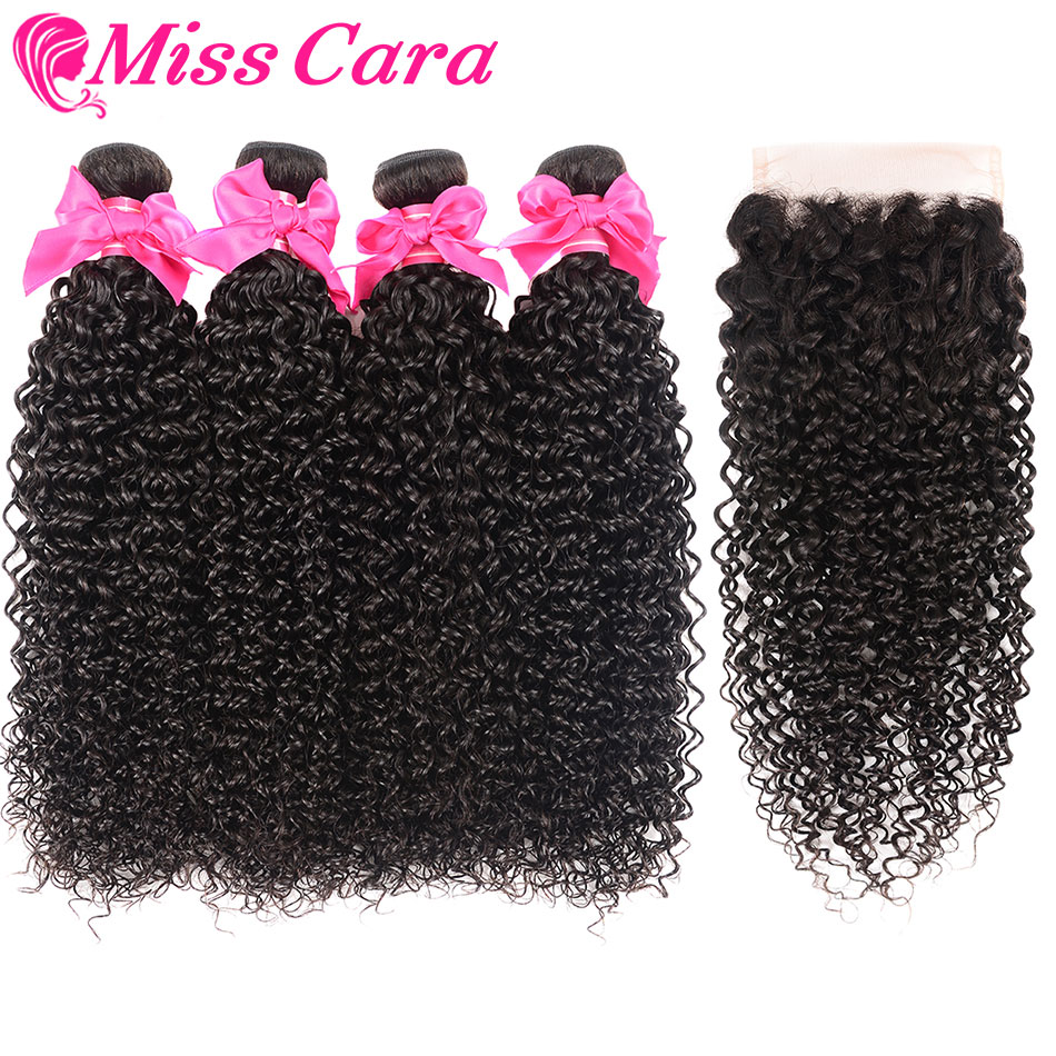 Malaysian Kinky Curly 3 4 Bundles With Free Middle Part Closure 100 Human Hair Bundles With