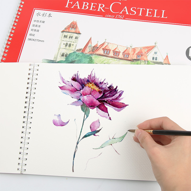Faber Castel Portable Watercolor Painting Rough Texture Sketch Notebook 20 Sheets 8K/16K 230g/300g Side Wire