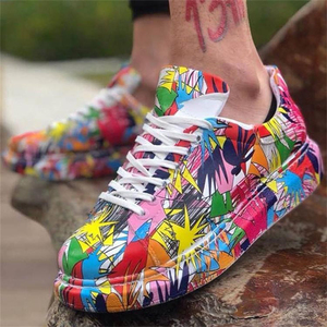 TUINANLE Shoes for Women Sneakers High Quality PU Leather Colorful Graffiti Platform Shoes 2021 New Spring Size 43 Women Shoes