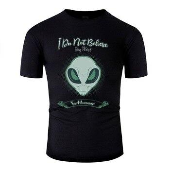 De Tumblr alienígena que no creo en los seres humanos estancia camiseta Hipster novedad adultos camisetas Top de Color liso de calidad
