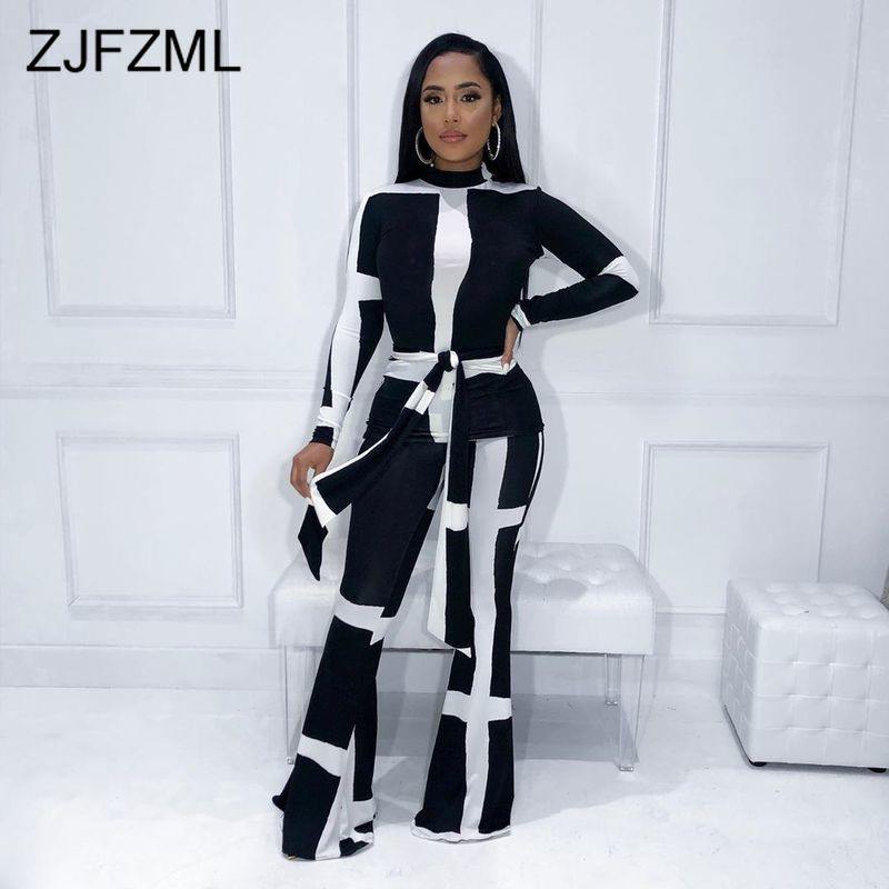 Print Causal Two Piece Set Winter Clothes For Women Stand Collars Full Sleeve T Shirts And Wide Leg Pants Plus Size Fall Outfits