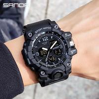 Männer Sport Uhren G Stil Schwarz Armbanduhr Sanda Led Digital 50M Wasserdichte Uhr für S Schock Männlichen Uhr relogio Masculino
