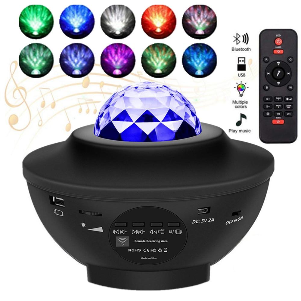 Галактический Звездный Ночной светильник, светодиодный Звездный проектор, Ночной светильник, проектор океанских волн с музыкой, Bluetooth, дист...
