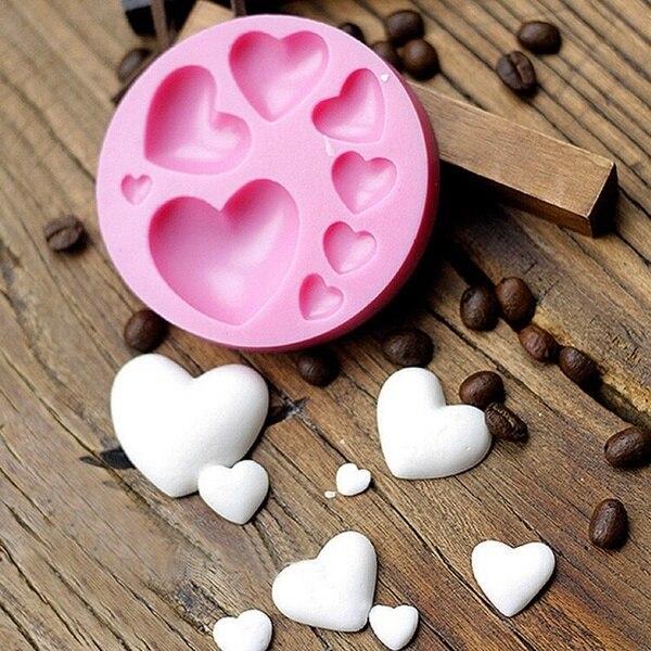 Coração amoroso forma silicone fondant molde diy colorido doce coração chocolate doces pasta bolo decoração ferramenta molde