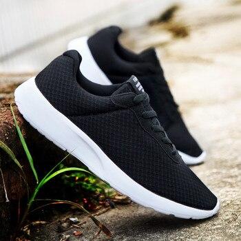 Transpirable hombres zapatos deportivos de hombre Vulcanize de malla antideslizante suela plana zapatillas de running de encaje Casual zapatos 35-48 zapatos para hombre