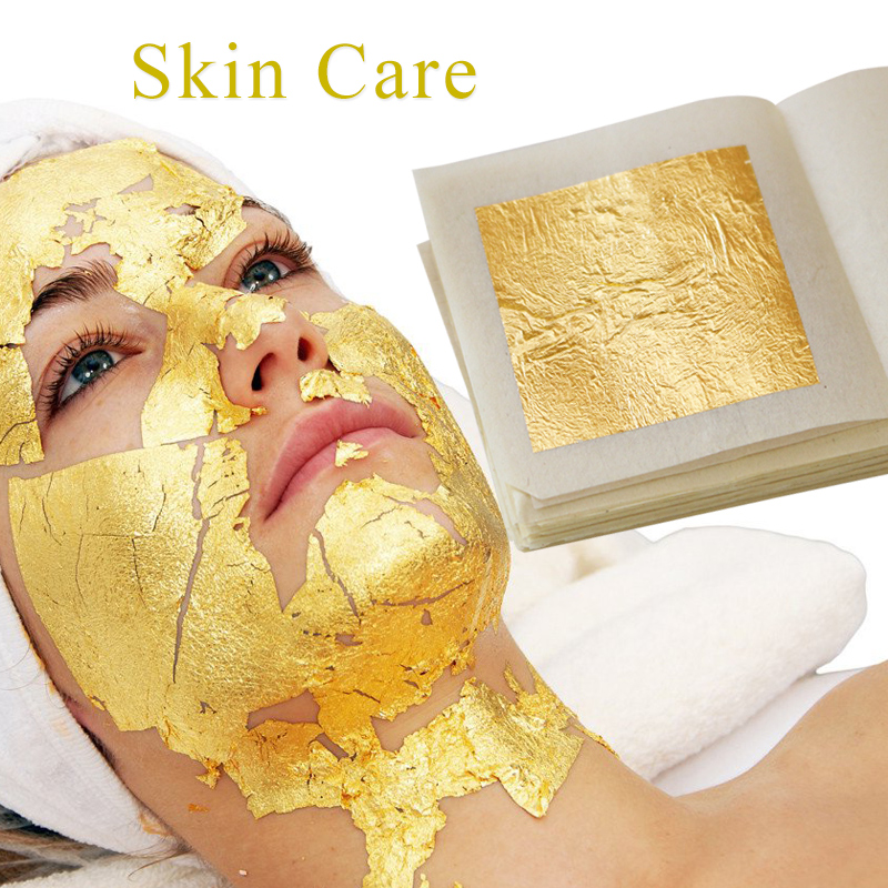 100 Sheets 4.33 X 4.33cm 24K Pure Genuine Facial Edible Gold Leaf For Cooking, Cakes And Chocolates, Decoration, Health & Spa