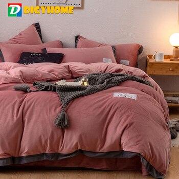 DIGYHOME 4pcs Flannel Bedding Set High Quality Coral Fleece Velvet Solid Color Bed Sheet Quilt Cover Pillowcase Bed Linen Set