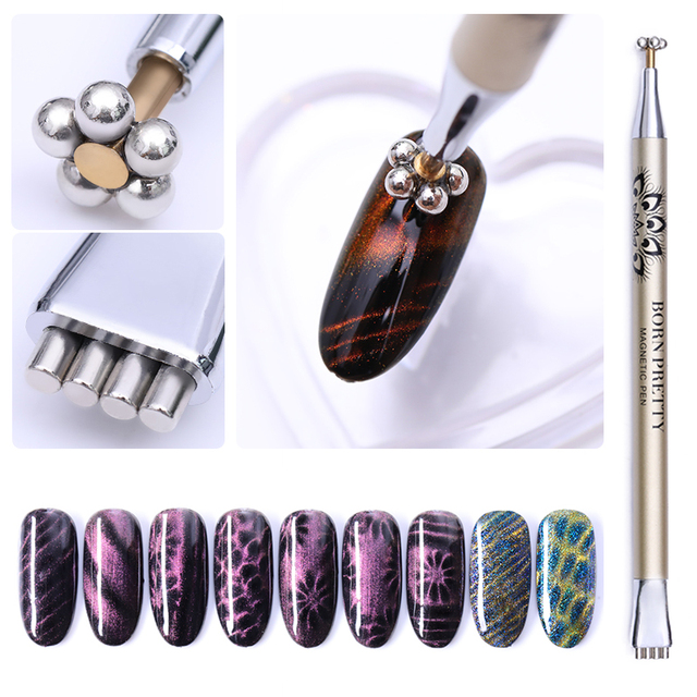 Nail Art Magnet Stick Cat Eye Magnet for UV Gel Varnish Polish 9D Cat Eye Line Strip Effect Strong Magnetic Pen Nail Art Tools 4