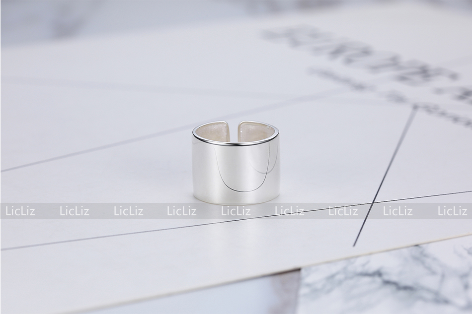 Hc46d04bf52244b5d8cc88c03136471791 LicLiz 925 Sterling Silver Open Adjustable Cuff Rings for Women Round Circle Ring Jewelry Anillos Plata 925 Para Mujer LR0323