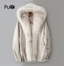 PUDI ZY18703 Women real wool fabric warm coat lady Rex fur lining fox collar leisure Fall/Winter long outwear