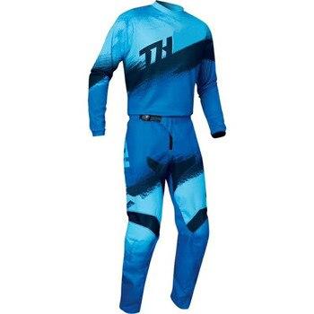 Conjunto de ropa de carreras para Motocross, Jersey con combinación de pantalón azul, para carretera, ATV, 2021