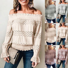 Hot Sale 2019 Trendy Women Sexy One Word Collar Lace Shirt Blouse Long Sleeve Tops Casual Loose For Travel Shopping IE998(China)