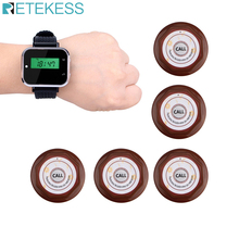 Retekess zegarek odbiornik + 5 sztuk przycisk połączenia pagery bezprzewodowy System wywołujący sprzęt restauracja kelner wywołanie systemu F3360