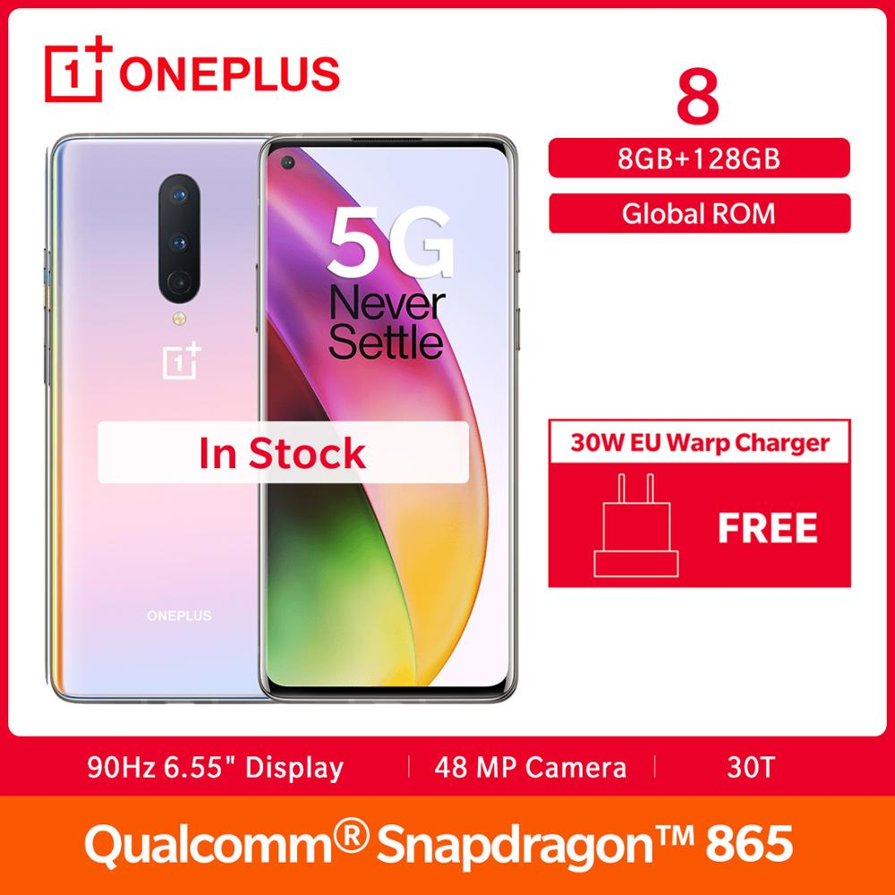 In Lager OnePlus 8 5G Smartphone Globale Rom Snapdragon 865 Octa Core 6.55
