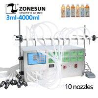 ZONESUN Elektrische Digital Control Pump Flüssige Füll Maschine Parfüm wasser Saft Ätherisches Öl Mit 10 Köpfe
