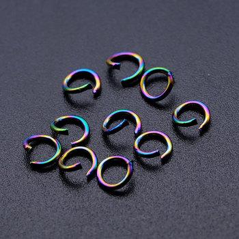 100 sztuk partia Rainbow kolor Jump pierścień 100 ze stali nierdzewnej hurtownie nigdy rdzy biżuteria ustalenia biżuteria znalezienie akcesoria tanie i dobre opinie vnistar CN (pochodzenie) Złącza Jump ring 0 5cm linki do biżuterii Other 0 08cm JN511