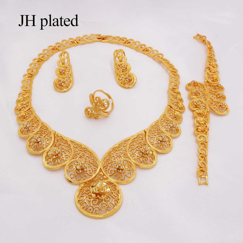 Dubaj złoty kolor zestawy biżuterii dla kobiet afryka etiopskie prezenty ślubne naszyjnik kolczyki bransoletka pierścionek zestawy biżuteria na przyjęcie