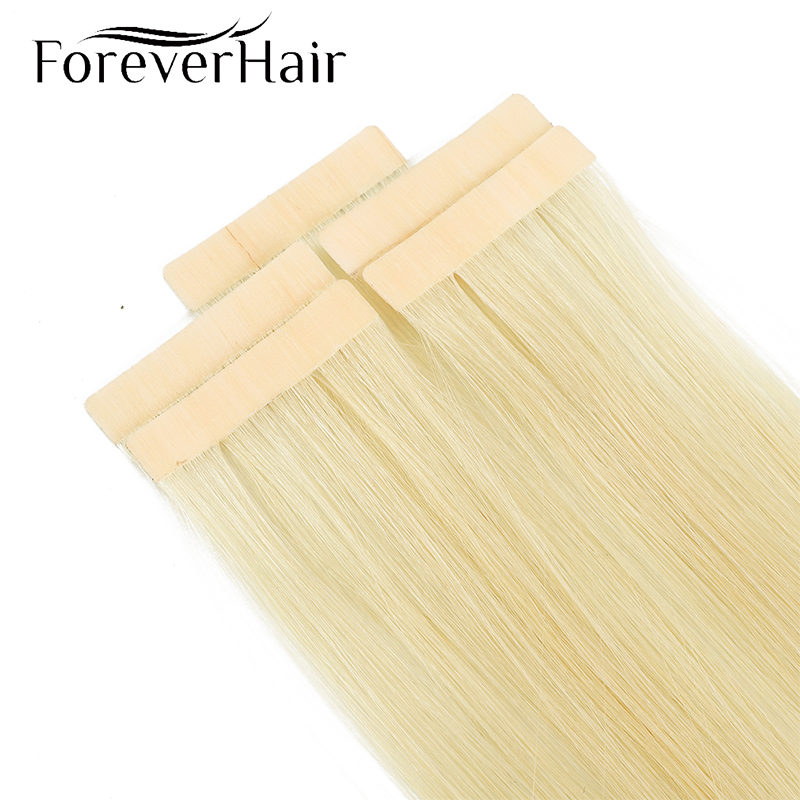 Forever Hair  Real 100% Remy Tape In Hair Human Hair Extension Seamless Skin Weft 5 Pcs Only Silky For European