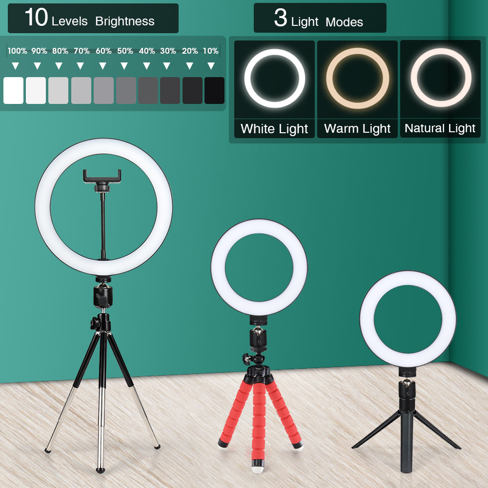 16/26Cm Fotografie Licht Led Selfie Flash Ringlicht Desktop Dimbare Camera Telefoon Ring Lamp Voor Make Video Live foto Studio 1