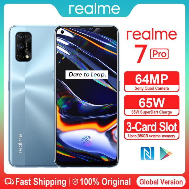 realme 7 Pro NFC Smartphones 64MP 8GB 128 GB 65W Fast Charge 4500mAh Smart Mobile Phone Snapgragon 720G androidGaming Cellphones 1