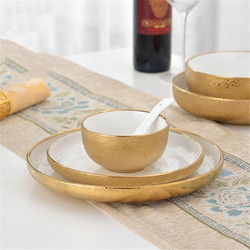 Nordic ceramiczne złote płytki talerz kreatywna porcelana danie zupa miska do ryżu prosta przekąska talerzyk deserowy ciasto taca zastawa stołowa do kuchni