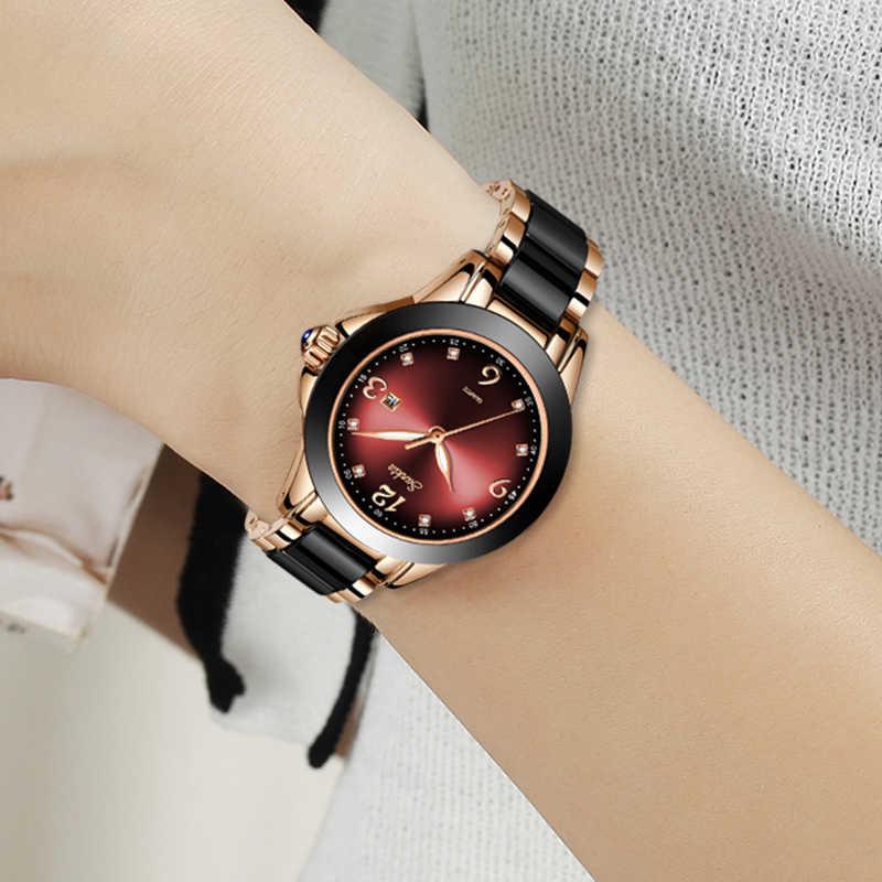 Montre Relogio ליגע מותג SUNKTA אופנה שעון נשים יוקרה קרמיקה וסגסוגת צמיד אנלוגי נשים שעון יד Relogio Feminino