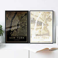 New York city map print, Real gold foil print of NYC NY USA wall art decor framed poster, personalized artwork map gifts