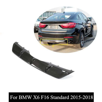 X6 Series Rear Diffuser Lip Spoiler For B-MW X6 F16 Standard 2015 2016 2017 2018 Real Carbon Fiber Rear Bumper image