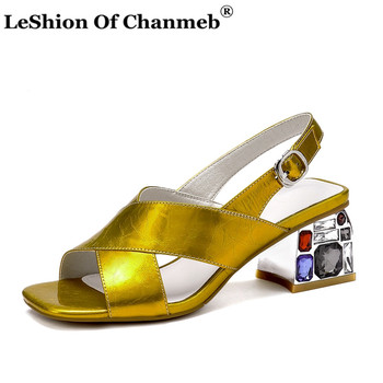 Real Cow Leather Sandals Women Cross Strap Buckle Summer Sandals Ladies Woman Gemstone Heels Party Shoes Bride Sandalia Feminina