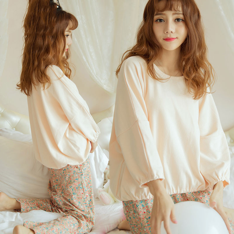 Women Pajamas Set Cute Print Autumn Winter Long Sleeve O Neck  Tops And Pants Pattern Female Home Clothes