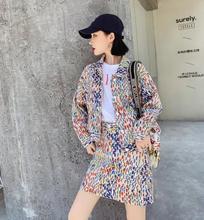 new print 2 two piece set top and pants 2019 autumn cotton denim jacket female short