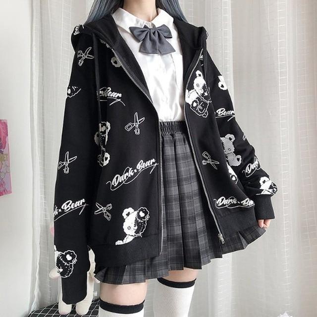 Deeptown Gothic Sweatshirt Women Black Zip Up Hoodie Fashion Autumn Winter Clothes Women Hoodies Korean Long Sleeve Emo Pullover 5