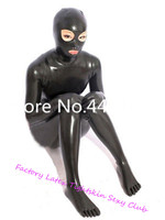 Latex Rubber Bodysuits with Hoods Mask&Gloves Socks Latex Rubber Full Bodysuits Black Zip Sexy Costume zentai exotic apparel