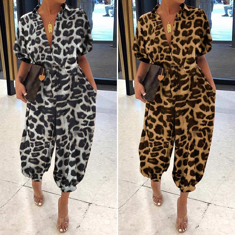 Celmia Leopard Print   Rompers   Women Vintage Jumpsuits Female Short Sleeve Cargo Pants Button Casual Loose Plus Size Harem Overall