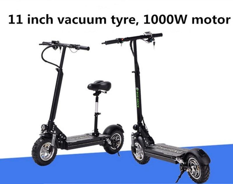 SEALUP 48V vélo électrique deux roues Scooters électriques 11 pouces moteur Brushless 1000W Portable vélo électrique Scooter avec siège