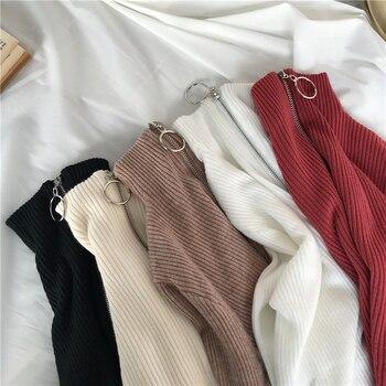 Knitted Women Zipper High Neck Sweater