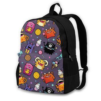 Mochila de dibujos animados de monstruos para hombres y mujeres, bolsos de escuela secundaria para estudiantes, mochilas de viaje para portátiles