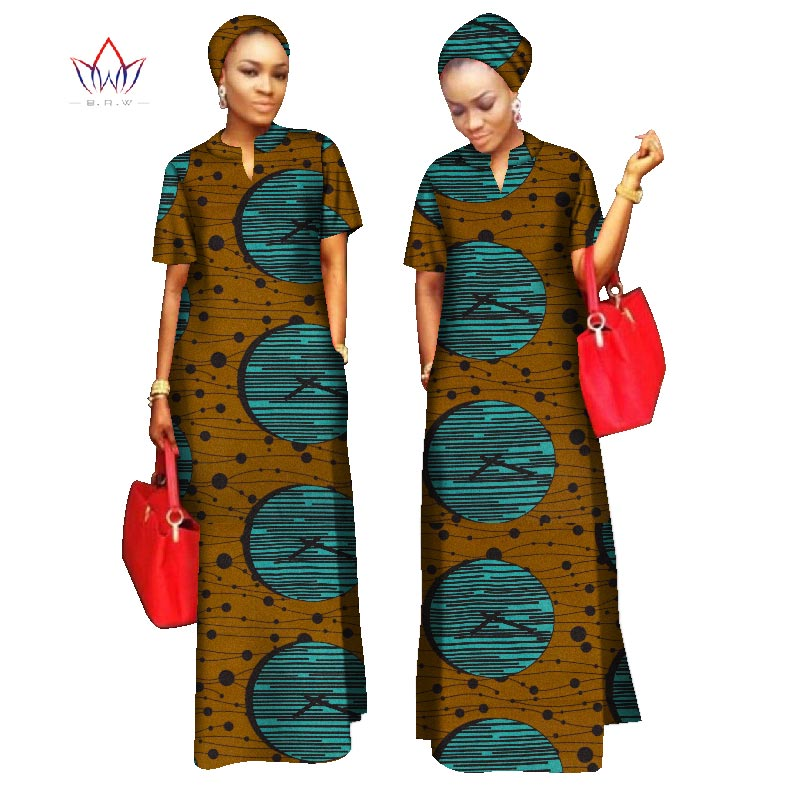 2020 African Styles Clothing Women Riche Bazin Straight 100% Cotton Material Free Head Scarf Lady Long Dress Maxi Size WY843