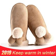 Nowy piękny Cartoon wiszące szyi rękawiczki zimowe ciepłe gruby kaszmir zamszowe rękawiczki kobiety Student kolarstwo na świeżym powietrzu narty sportowe rękawiczki tanie tanio WOMEN Chamois Dla dorosłych Nadgarstek Moda DB18-91