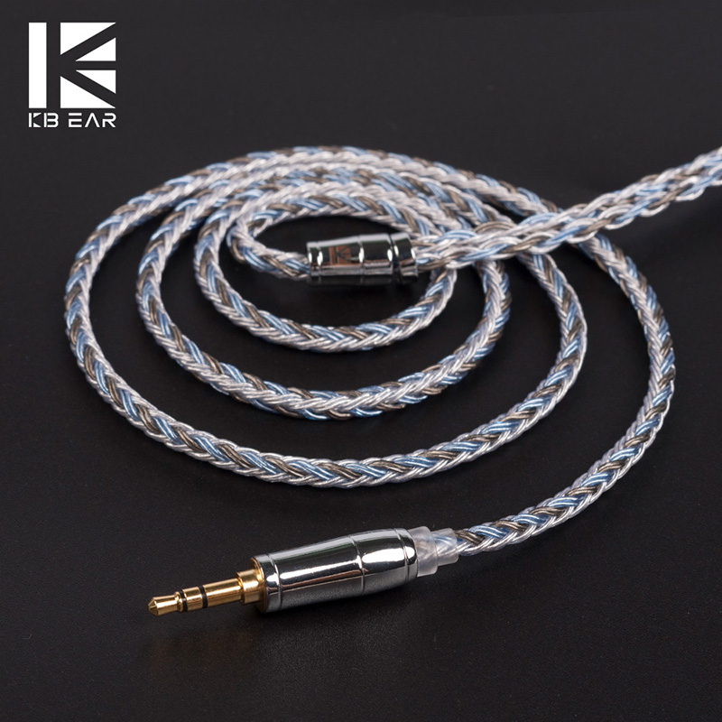 KBEAR 16 Core Upgraded Silver Plated Copper Cable 2.5/3.5/4.4 MM With MMCX/2pin/QDC TFZ For KZ ZS10 ZSN ZSX BLON BL-03 Earphone image